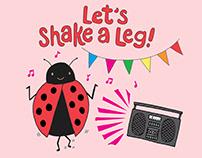 Shake a Leg Ladybug Kid's T-shirt and Greeting Card