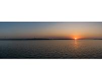 Sunset on the Volga river
