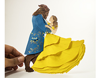 Beauty and The Beast Paper cut Sculpture