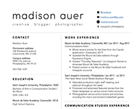 creative resume document design