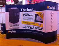 Keyhole advertising stand