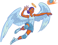 Girl Angel Spiking Volleyball Vector Cartoon