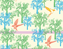 Flying Birds surface pattern for textile print