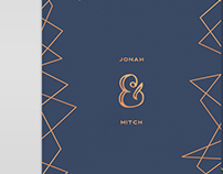 Wedding invitation - Navy & Rose Gold