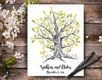 Wedding Guestbook Tree, Custom Hand Drawn Fingerprint