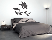 Interior Wall Sticker Mockup for (BluCreativo)
