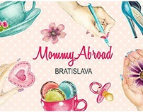 MommyAbroad illustrated banner and concept elements