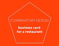 Combinatory Design - business card for a restaurant