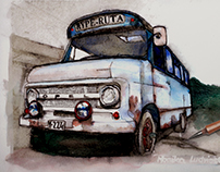 Old Opel. Watercolor and pen.