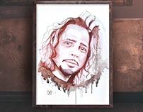 En homenaje a Chris Cornell. Pintura con vino