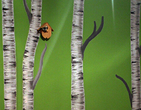 Birches - wall painting