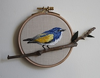 bukowski 's blue bird embroidery