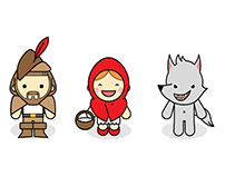 Modular illustrations of characters for game for kids