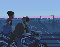 Lovers at dusk - Animated pixel art