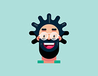 Flat Design Character, Man Portrait Illustration