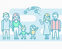 Illustrations, motion, branding - La Ronde des Familles