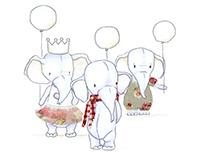Ilustração - elefantes infantis em tecido