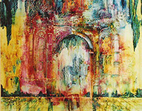 Puertas entre colores abstractos