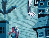 'The Boardwalk: Point Pleasant, NJ' Woodblock Print