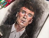 Watercolor portrait of Cillian Murphy