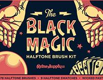 Black Magic Vector Halftone Brushes by RetroSupply Co.