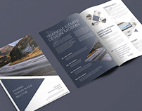 Modern Design Bi-Fold Brochure With Triangular Elements