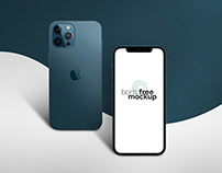 Pacific Blue iPhone 12 Pro Max Mockup 4