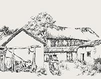 Village Drawing Scroll