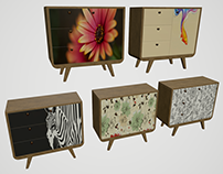 Cabinet with prints