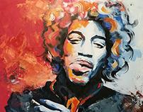 jimi Hendrix Acrilic on Canvas 1x1,5m Painting