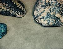 'fluvial deposits' batik, soft sculpture, hand-dyed