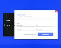 Website Account Model Popup Window Bar UI/UX Design