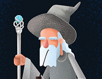 Old Gandalf and his magical pipe