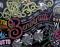 Hand lettering - Chalkboard for Pecorino Bar Trattoria