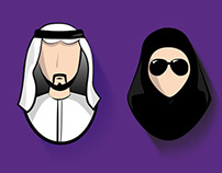 Middle Eastern Characters Icons set