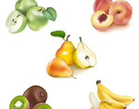Icons fruit set