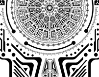 Ancient Head Circle Illustration