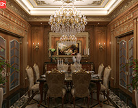 Classic wooden dining room  at con-creative office