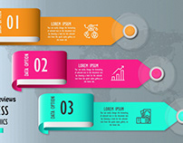 Free Business Infographics Template With Curved Paper