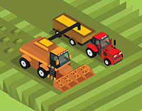 Combine harvester and tractor 3d isometric view