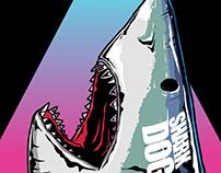 Shark dog surf illustration graphic design