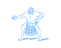 A Sumo wrestlers enter the Dohyo ring