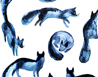 Watercolor foxes pattern and characters.
