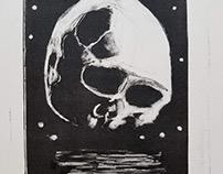 Mono print skull moon
