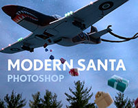 Plane Propelled Santa Claus (Matte Painting)