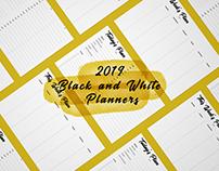 2019 B&W Printable Planners