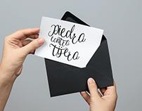 Lettering Piedra contra tijera