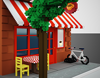 Brooklyn Street Cafe - voxel art
