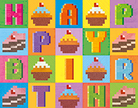 Pixel Love Art cards: Birthday Cup Cakes
