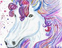 Fantasy unicorn watercolor